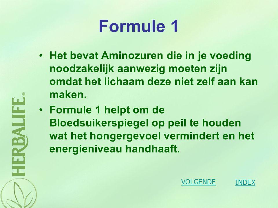 Formule 1 Het bevat Aminozuren die in je voeding noodzakelijk aanwezig moeten zijn omdat het lichaam deze niet zelf aan kan maken.