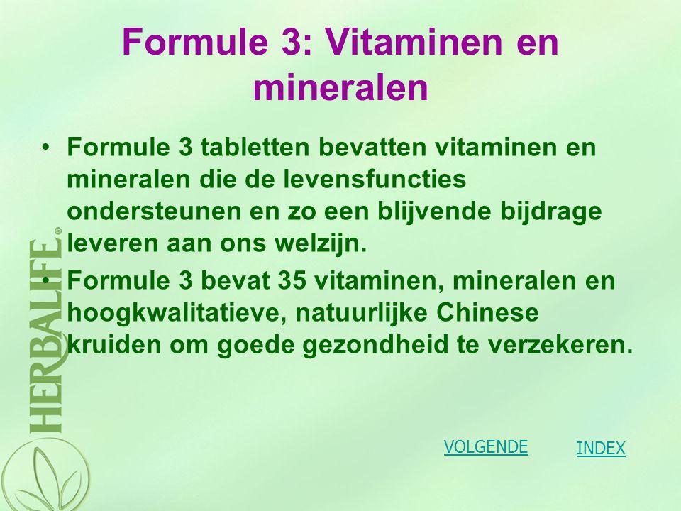 Formule 3: Vitaminen en mineralen