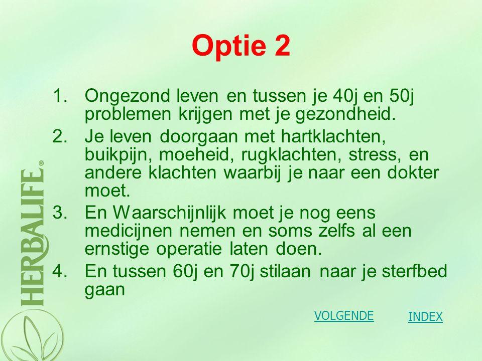 Optie 2 Ongezond leven en tussen je 40j en 50j problemen krijgen met je gezondheid.