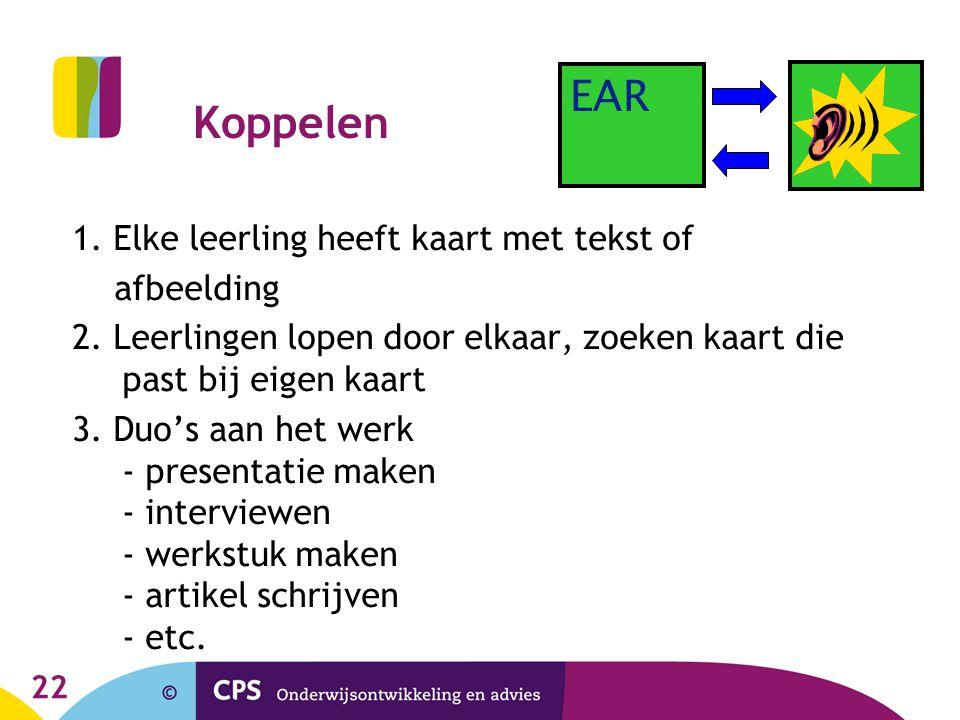 Koppelen EAR 1. Elke leerling heeft kaart met tekst of afbeelding