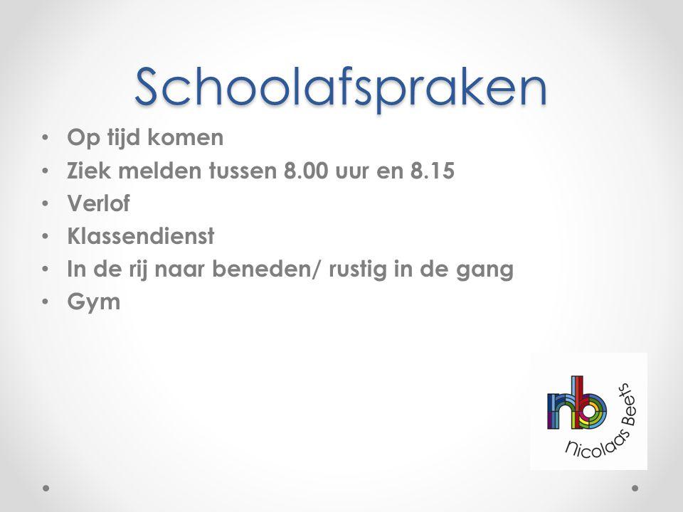 Schoolafspraken Op tijd komen Ziek melden tussen 8.00 uur en 8.15