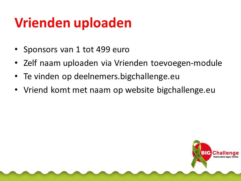 Vrienden uploaden Sponsors van 1 tot 499 euro