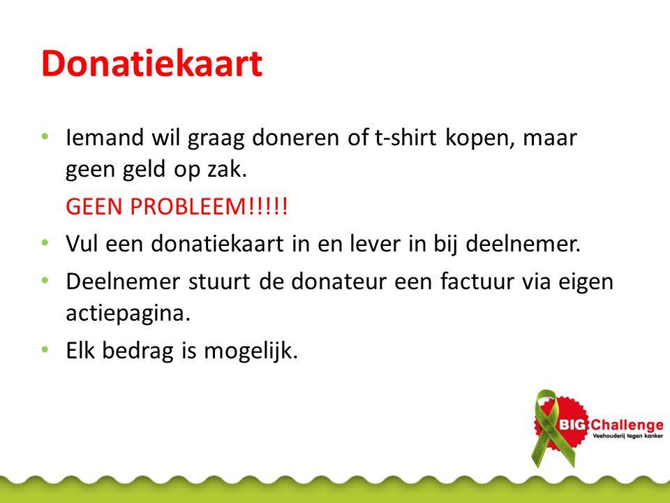 Donatiekaart Iemand wil graag doneren of t-shirt kopen, maar geen geld op zak. GEEN PROBLEEM!!!!!