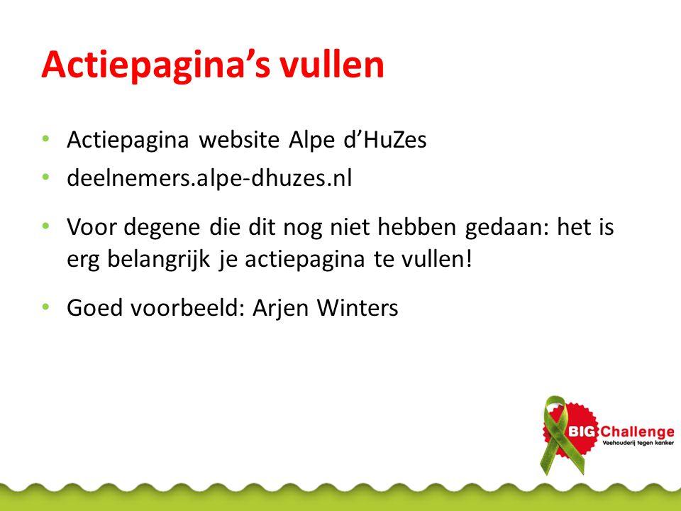Actiepagina's vullen Actiepagina website Alpe d'HuZes