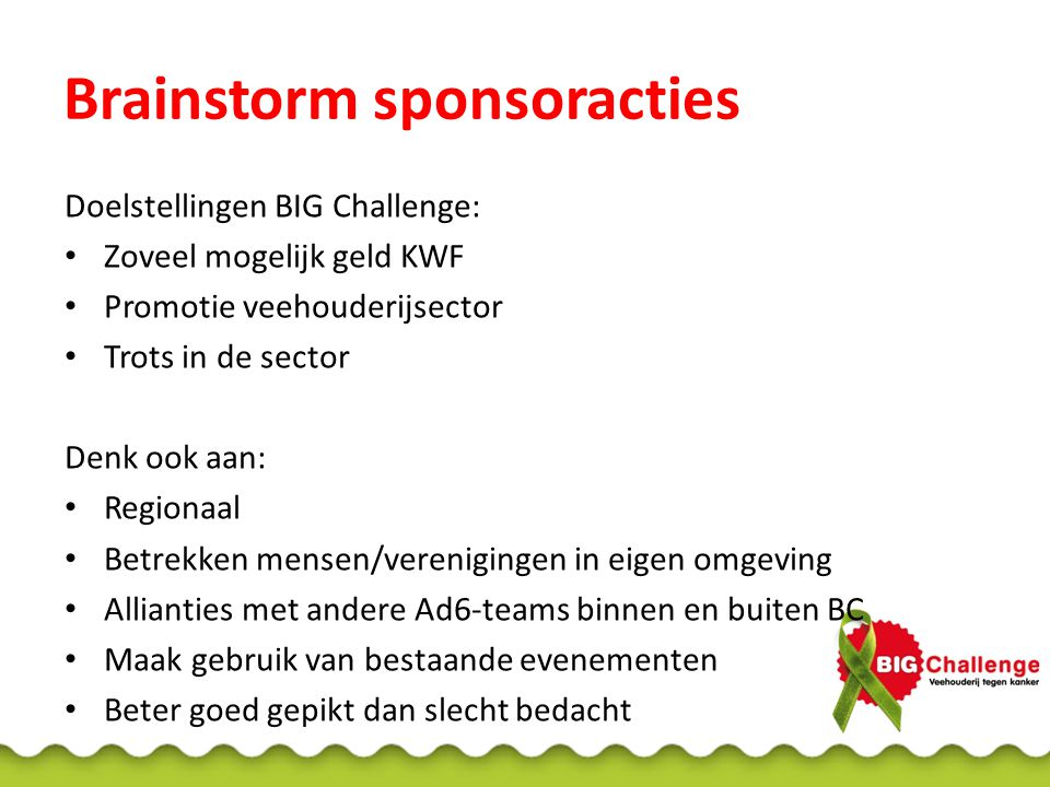 Brainstorm sponsoracties