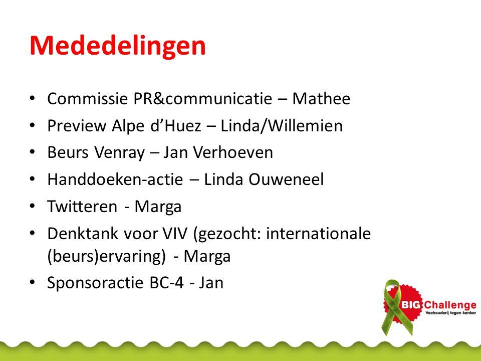 Mededelingen Commissie PR&communicatie – Mathee