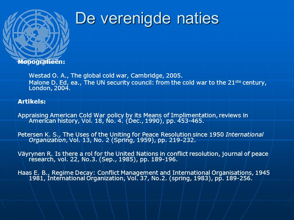 De verenigde naties Monografieën: