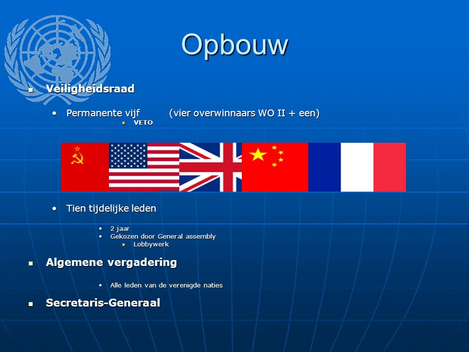 Opbouw Veiligheidsraad Algemene vergadering Secretaris-Generaal