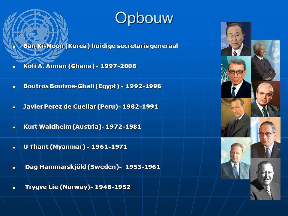 Opbouw Ban Ki-Moon (Korea) huidige secretaris generaal