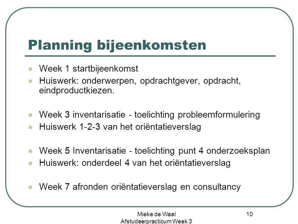 Planning bijeenkomsten