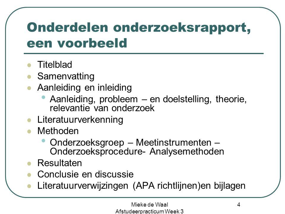 Onderdelen onderzoeksrapport, een voorbeeld