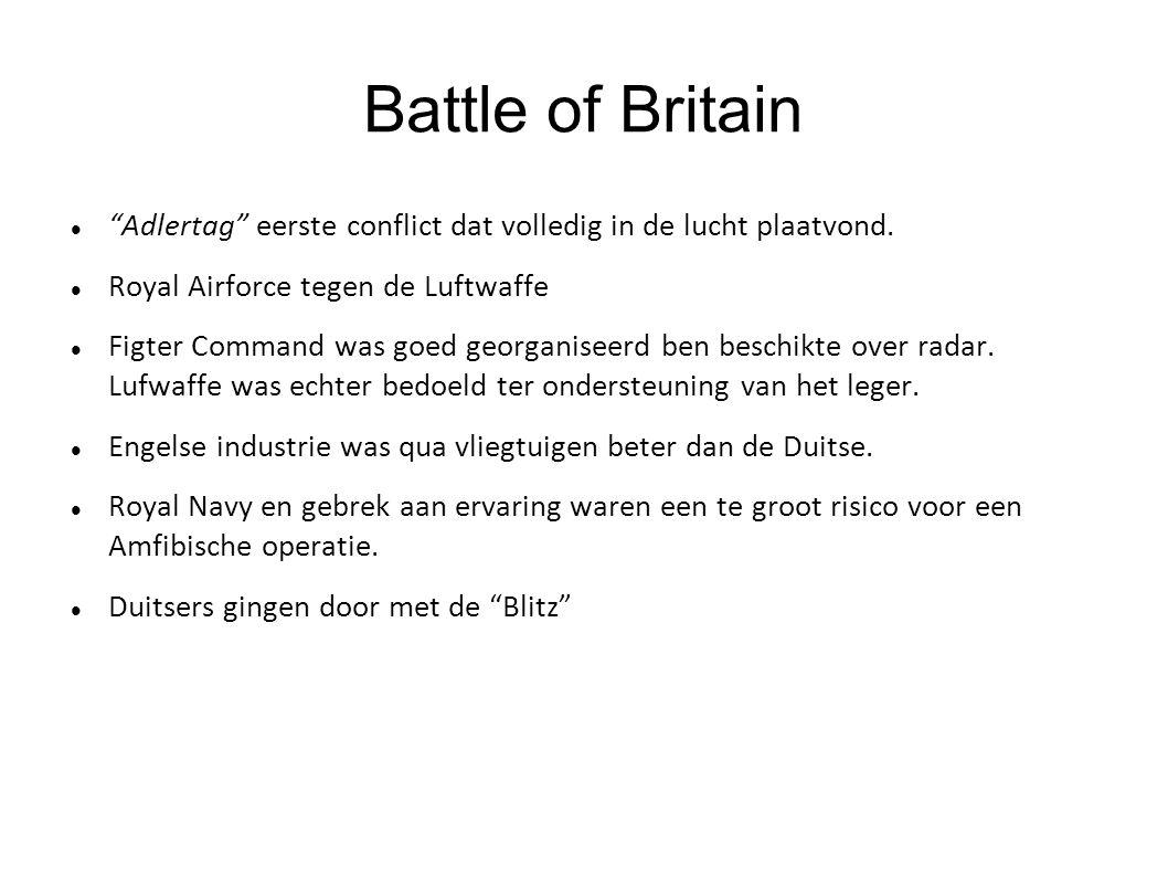 Battle of Britain Adlertag eerste conflict dat volledig in de lucht plaatvond. Royal Airforce tegen de Luftwaffe.