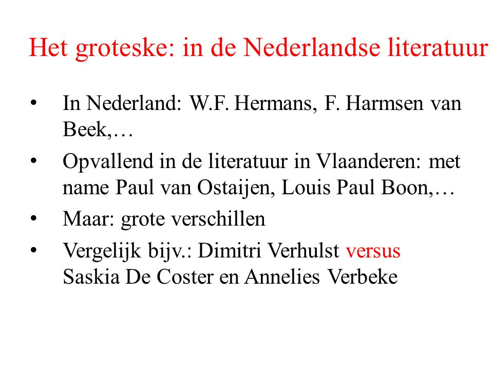 Het groteske: in de Nederlandse literatuur