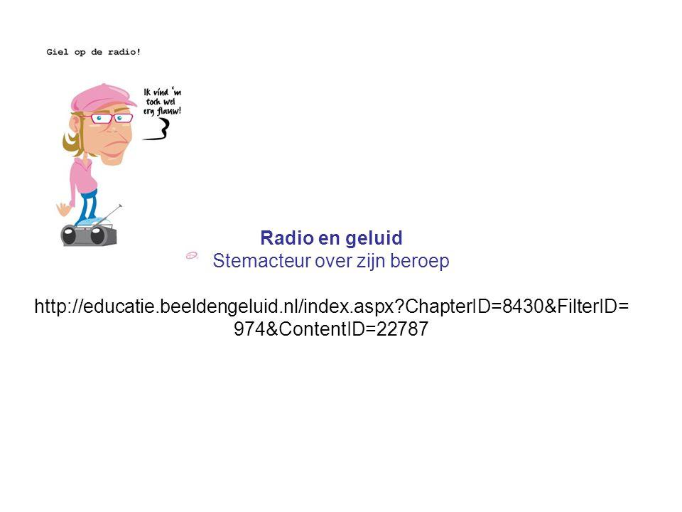Radio en geluid Stemacteur over zijn beroep http://educatie