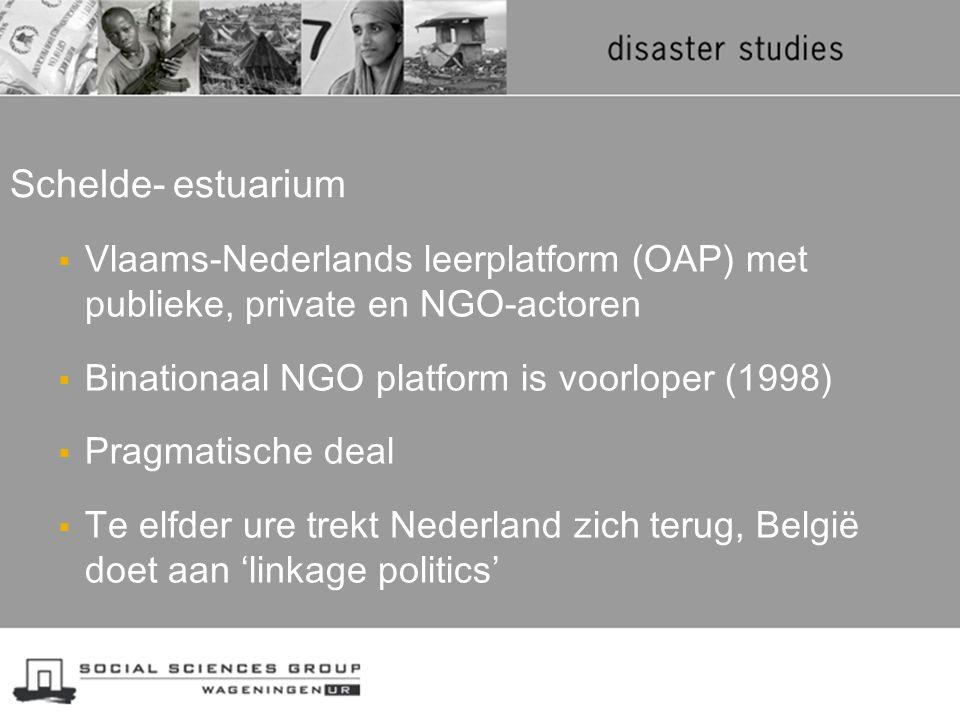 Schelde- estuarium Vlaams-Nederlands leerplatform (OAP) met publieke, private en NGO-actoren. Binationaal NGO platform is voorloper (1998)