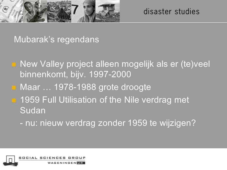 Mubarak's regendans New Valley project alleen mogelijk als er (te)veel binnenkomt, bijv. 1997-2000.