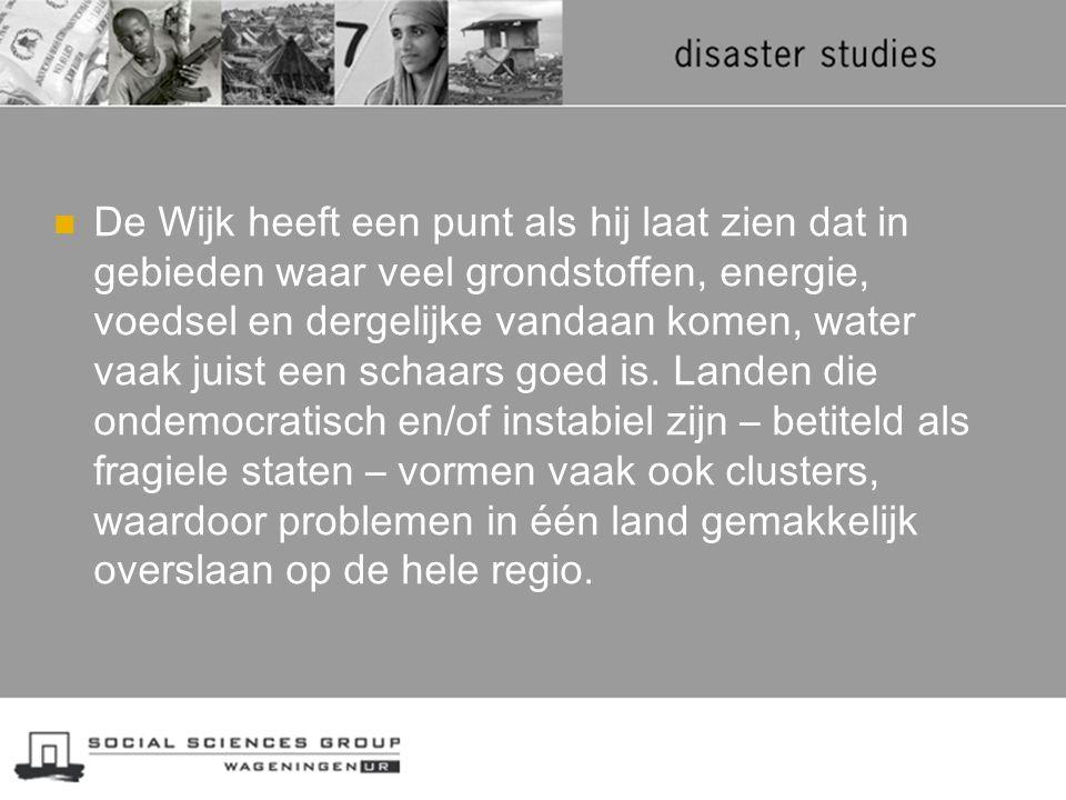 De Wijk heeft een punt als hij laat zien dat in gebieden waar veel grondstoffen, energie, voedsel en dergelijke vandaan komen, water vaak juist een schaars goed is.