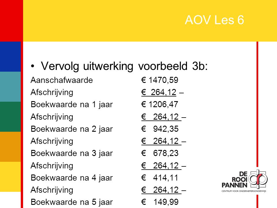AOV Les 6 Vervolg uitwerking voorbeeld 3b: Aanschafwaarde € 1470,59