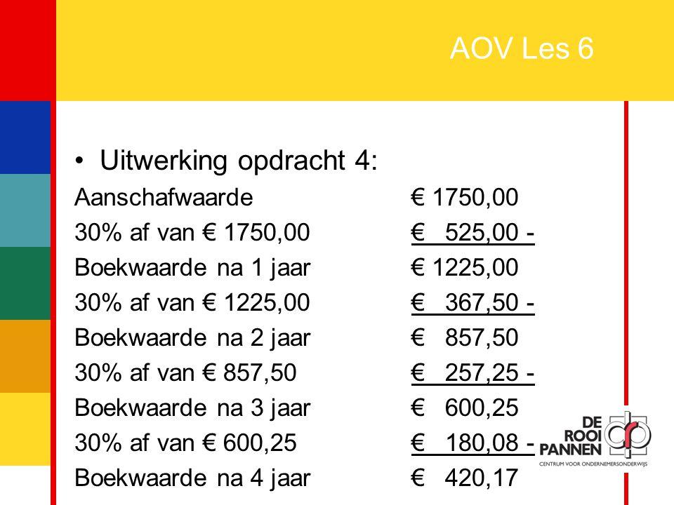 AOV Les 6 Uitwerking opdracht 4: Aanschafwaarde € 1750,00