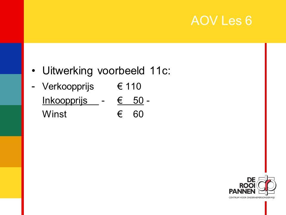 AOV Les 6 Uitwerking voorbeeld 11c: - Verkoopprijs € 110