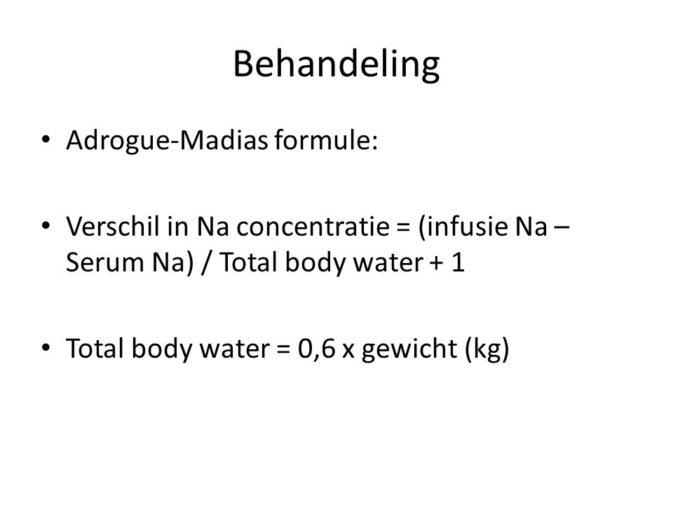Behandeling Adrogue-Madias formule: