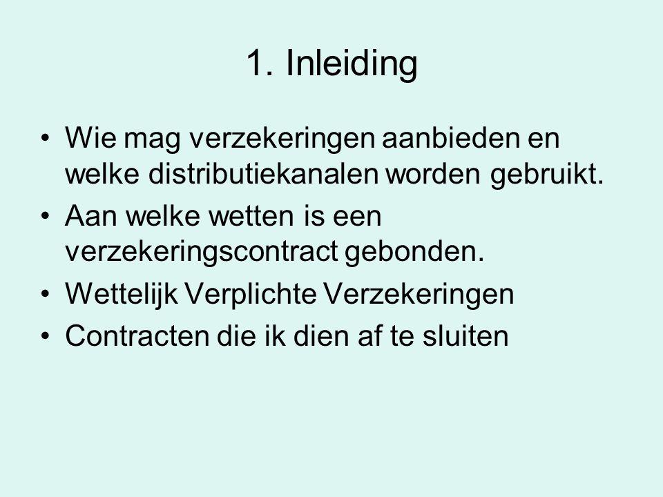 1. Inleiding Wie mag verzekeringen aanbieden en welke distributiekanalen worden gebruikt. Aan welke wetten is een verzekeringscontract gebonden.
