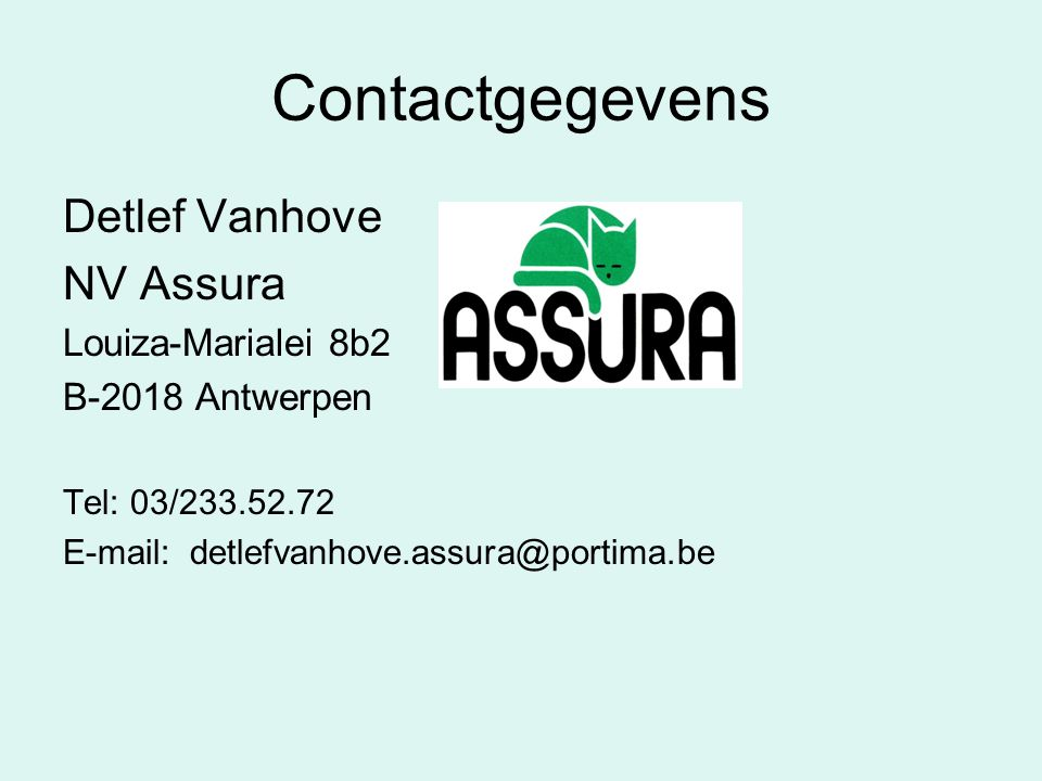 Contactgegevens Detlef Vanhove NV Assura Louiza-Marialei 8b2