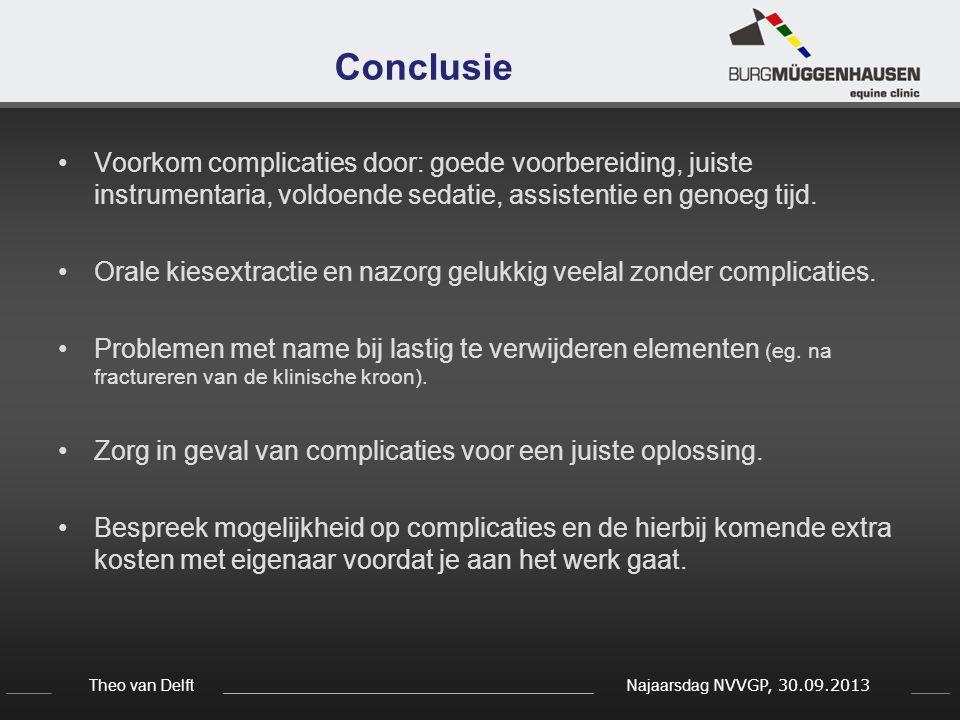 Conclusie Voorkom complicaties door: goede voorbereiding, juiste instrumentaria, voldoende sedatie, assistentie en genoeg tijd.