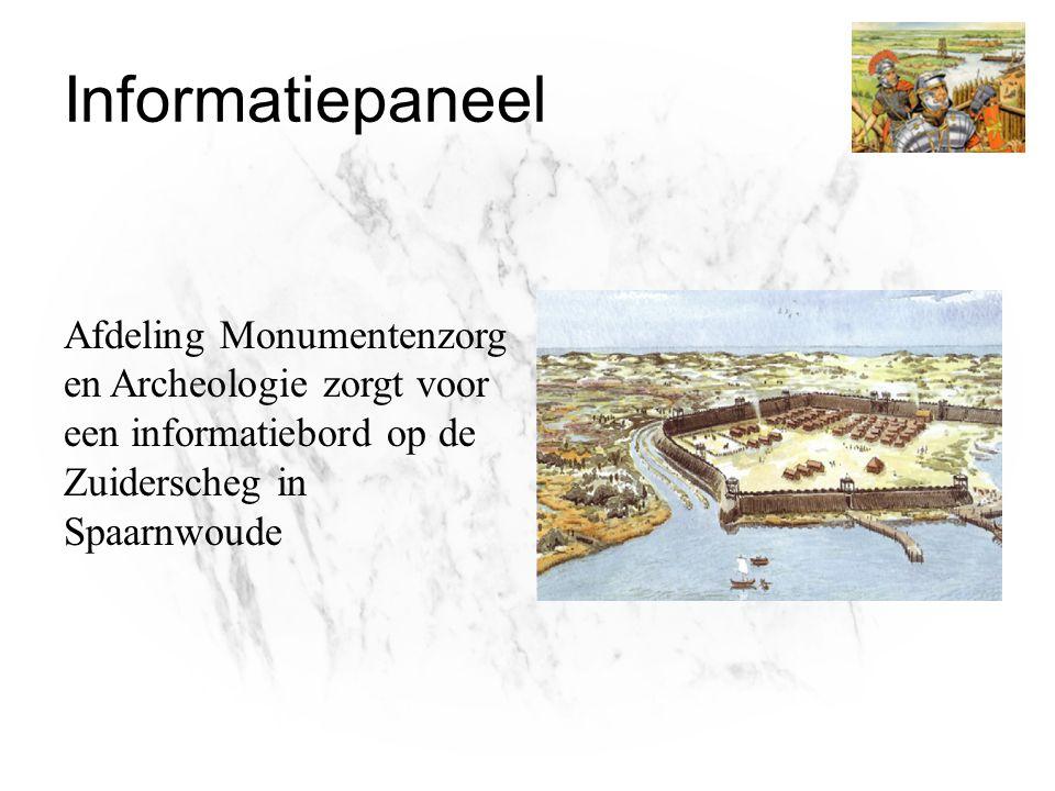 Informatiepaneel Afdeling Monumentenzorg en Archeologie zorgt voor een informatiebord op de Zuiderscheg in Spaarnwoude.