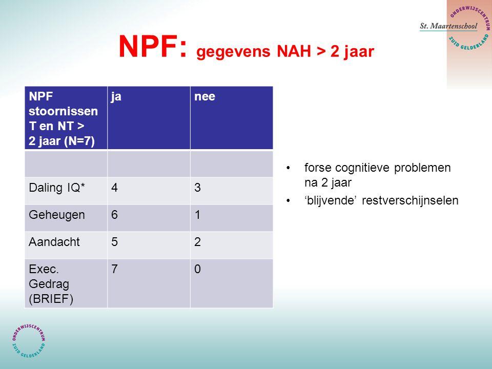 NPF: gegevens NAH > 2 jaar