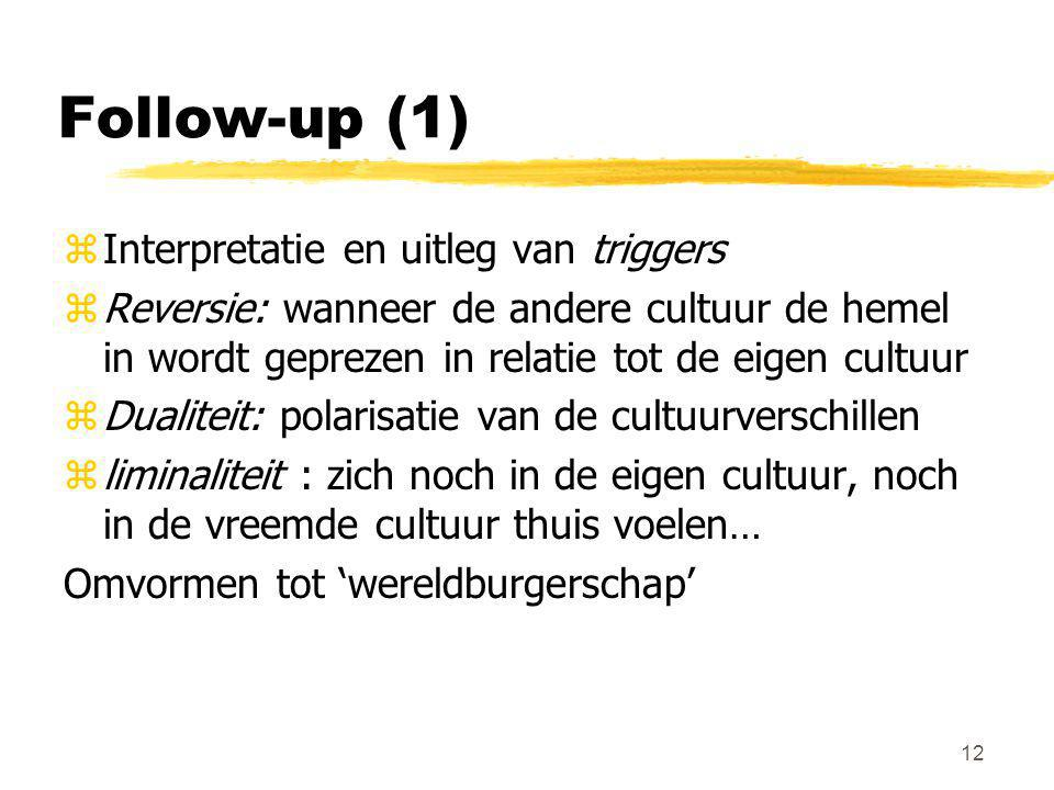 Follow-up (1) Interpretatie en uitleg van triggers