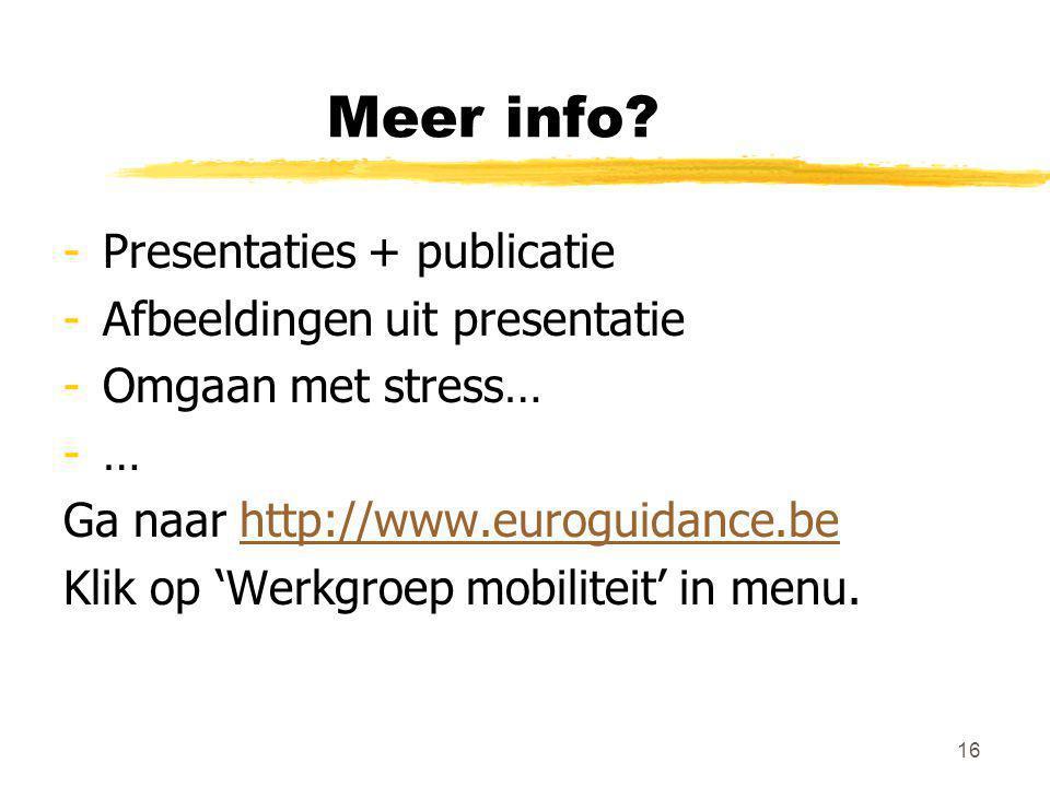 Meer info Presentaties + publicatie Afbeeldingen uit presentatie