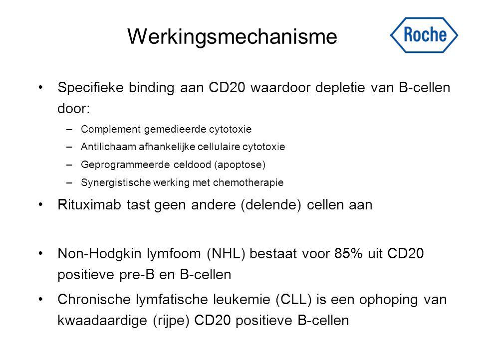 Werkingsmechanisme Specifieke binding aan CD20 waardoor depletie van B-cellen door: Complement gemedieerde cytotoxie.