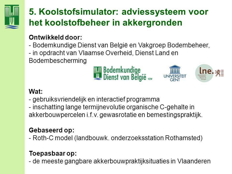 5. Koolstofsimulator: adviessysteem voor het koolstofbeheer in akkergronden