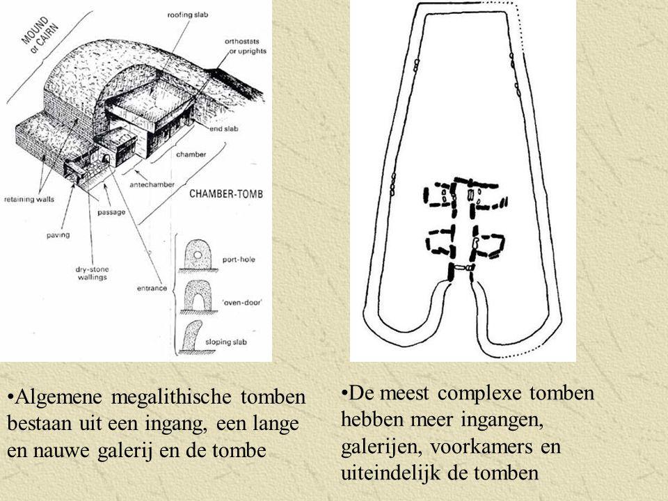 Algemene megalithische tomben bestaan uit een ingang, een lange en nauwe galerij en de tombe