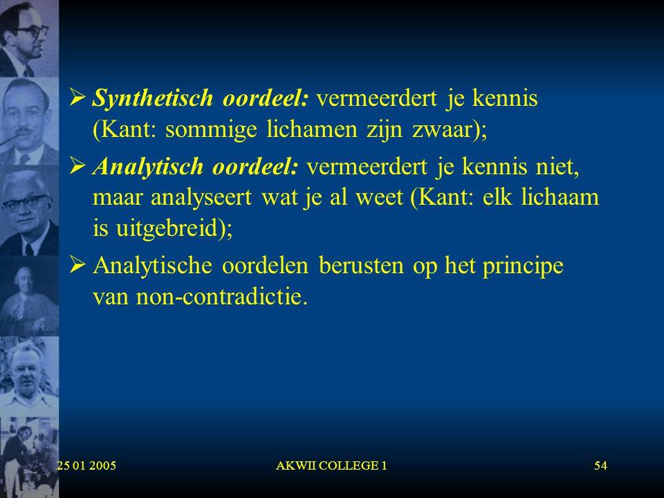 Analytische oordelen berusten op het principe van non-contradictie.