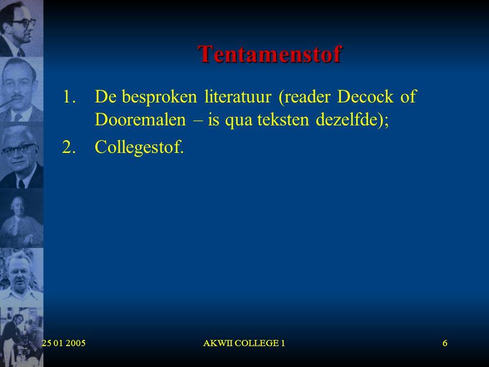 Tentamenstof De besproken literatuur (reader Decock of Dooremalen – is qua teksten dezelfde); Collegestof.