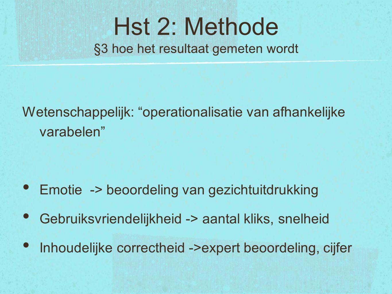 Hst 2: Methode §3 hoe het resultaat gemeten wordt