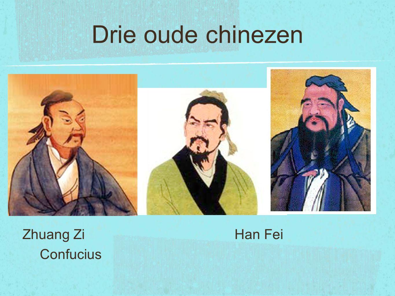 Drie oude chinezen Zhuang Zi Han Fei Confucius.