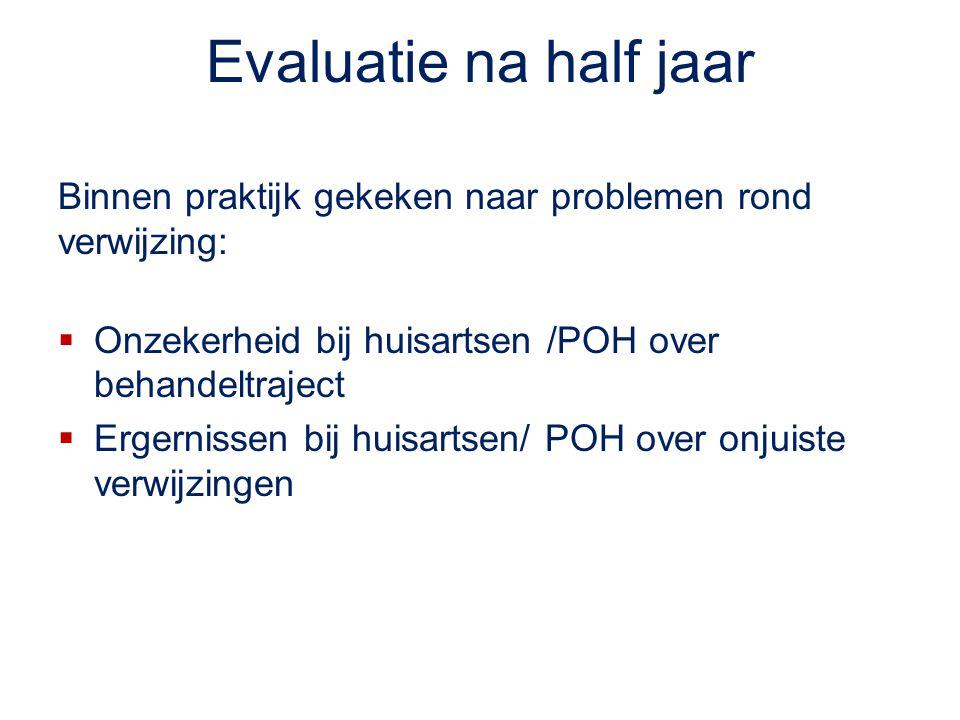 Evaluatie na half jaar Binnen praktijk gekeken naar problemen rond verwijzing: Onzekerheid bij huisartsen /POH over behandeltraject.