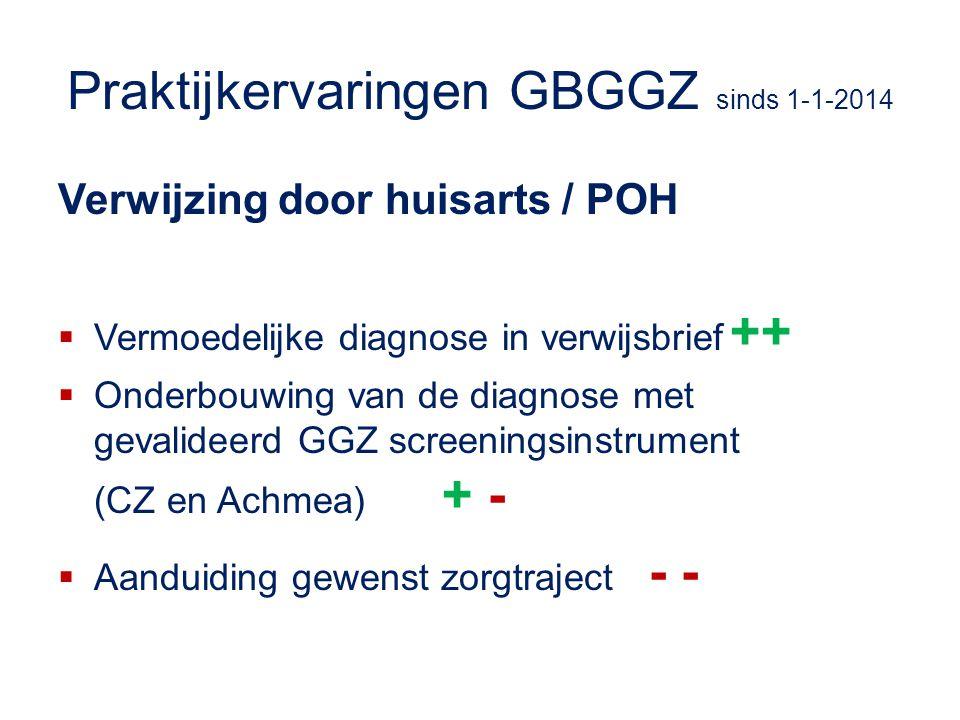 Praktijkervaringen GBGGZ sinds 1-1-2014
