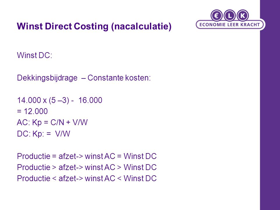 Winst Direct Costing (nacalculatie)