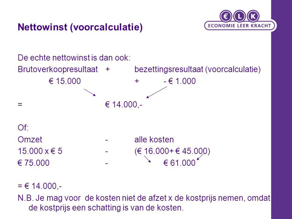 Nettowinst (voorcalculatie)