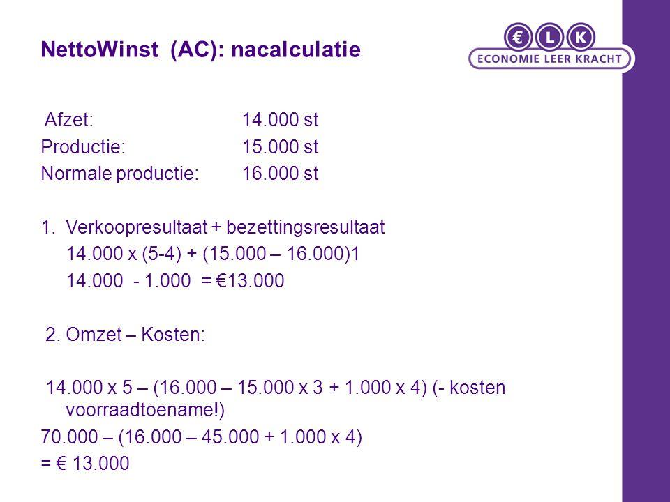 NettoWinst (AC): nacalculatie