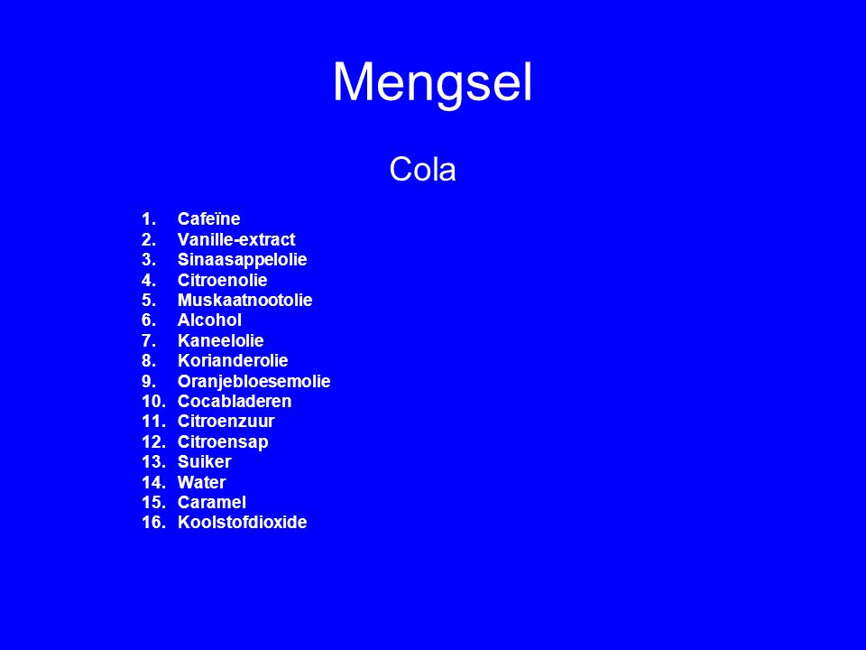 Mengsel Cola Cafeïne Vanille-extract Sinaasappelolie Citroenolie