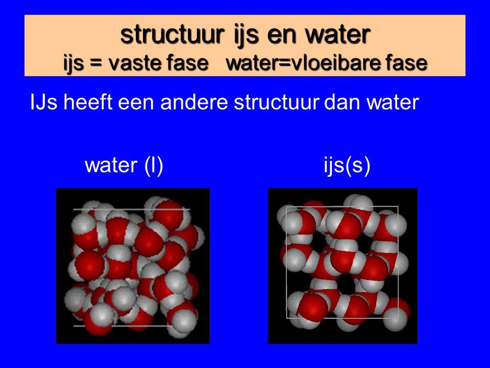 structuur ijs en water ijs = vaste fase water=vloeibare fase