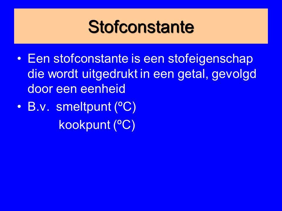Stofconstante Een stofconstante is een stofeigenschap die wordt uitgedrukt in een getal, gevolgd door een eenheid.