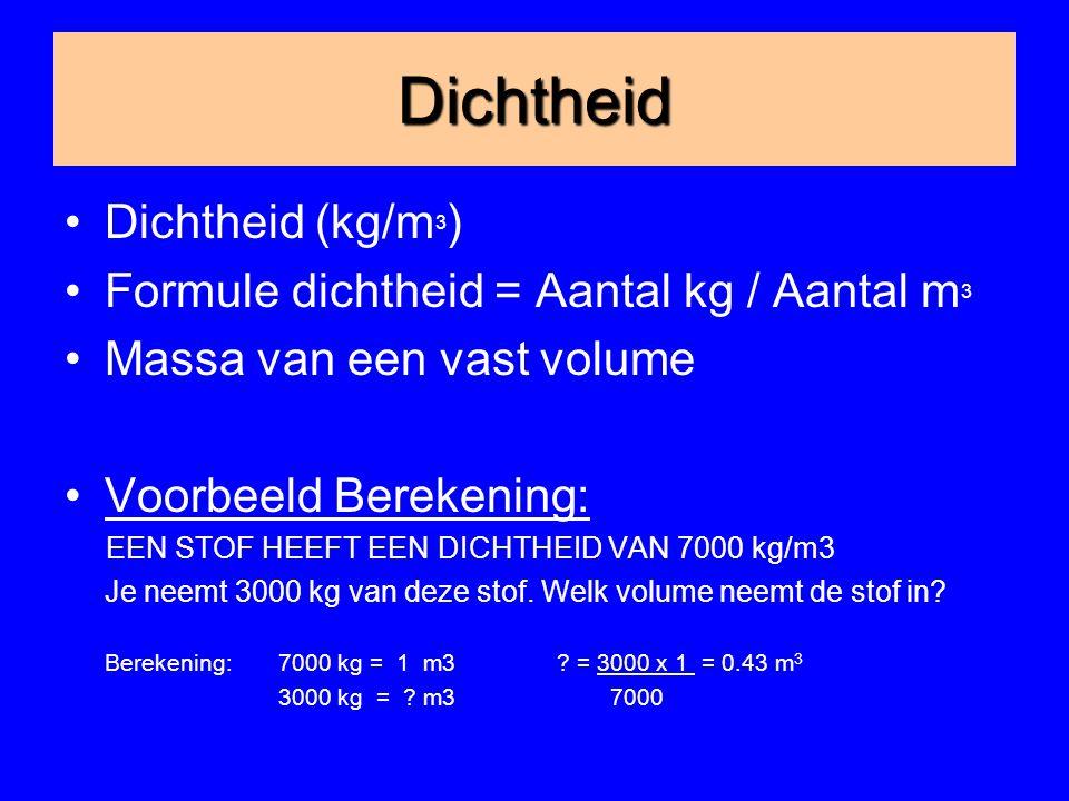 Dichtheid Dichtheid (kg/m3) Formule dichtheid = Aantal kg / Aantal m3