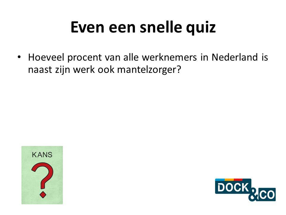 Even een snelle quiz Hoeveel procent van alle werknemers in Nederland is naast zijn werk ook mantelzorger