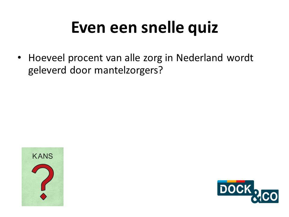 Even een snelle quiz Hoeveel procent van alle zorg in Nederland wordt geleverd door mantelzorgers